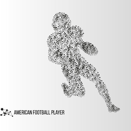 teenagers only: Abstract geometric molecule polygonal american football player silhouette isolated on gradient background Illustration