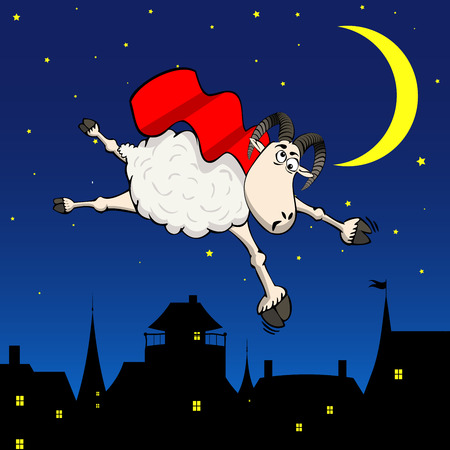 Crazy super hero sheep flying in the sky of night city funny background