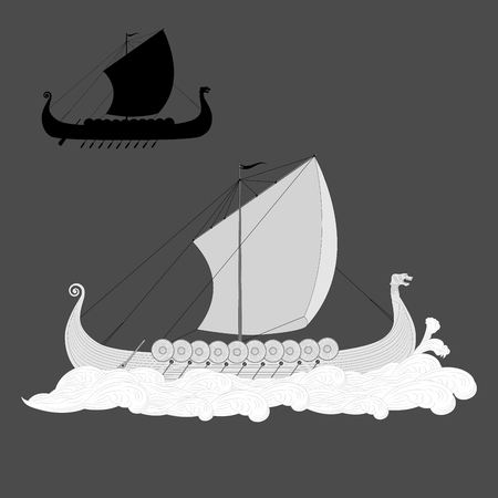 gravure: Viking longship in the sea gravure isolated silhouette on grey background