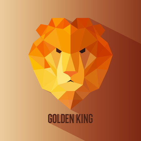 lion vector: Geometric vector animal lion head golden king colored logotype Illustration