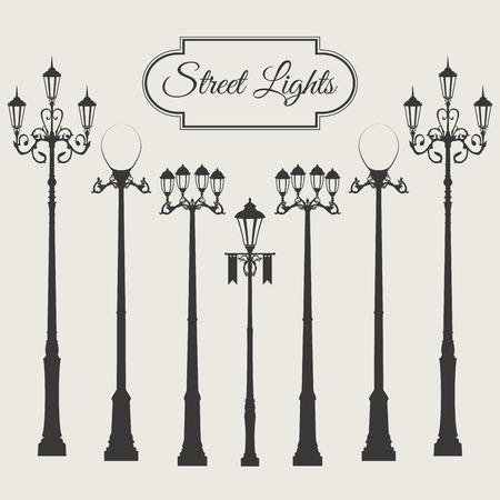 Vintage vector straat licht pack set met vignet frame geïsoleerd op een witte achtergrond Stock Illustratie