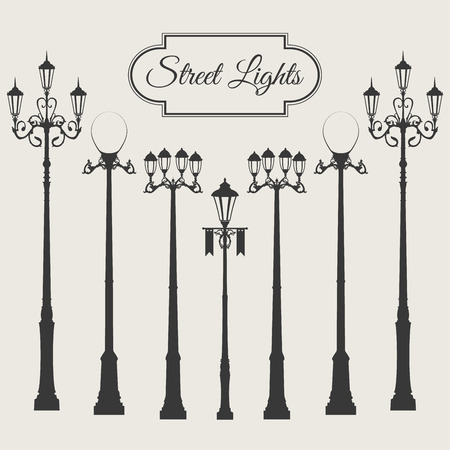 Vintage vector street light pack set with vignette frame isolated on white background