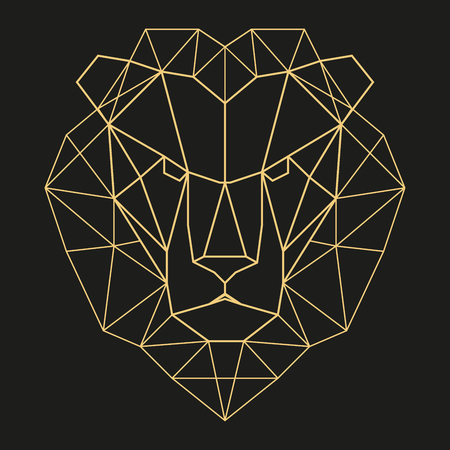 jumbo: Lion head geometric lines silhouette isolated on black background vintage design element Illustration