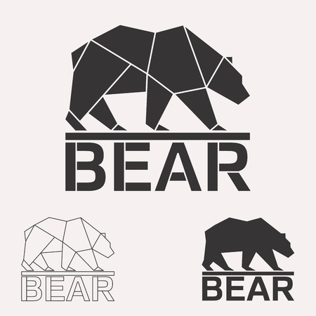Brown bear. Grizzly bear. Arctic bear geometric lines silhouette isolated on white background vintage vector design element illustration set Stock Illustratie