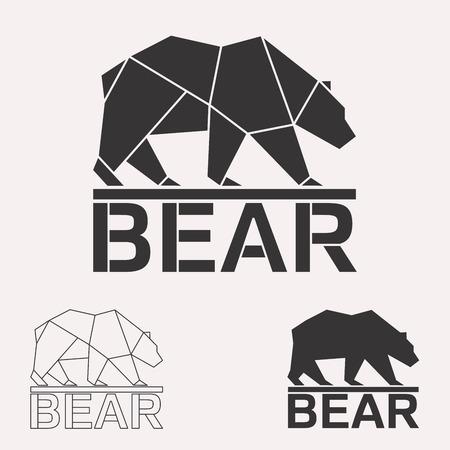 Urso marrom. Urso pardo. Silhueta de linhas geométricas urso ártico isolada no fundo branco vintage vector design elemento ilustração conjunto
