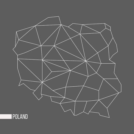 회색 배경에 고립 된 추상 다각형 형상 폴란드 최소한의지도 일러스트