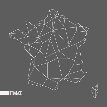 corsica: Abstract polygonal geometric France, Corsica minimalistic map isolated on grey background