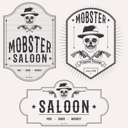 mobster: Mobster saloon isolated logo set emblems, badges and design elements on white background