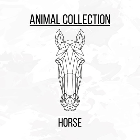 Horse head geometric lines silhouette isolated on white background vintage design element