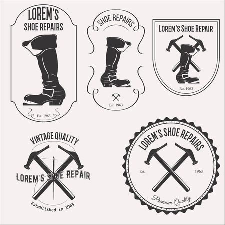 shoe repair: Vintage shoe repair set emblems, badges and design elements on white background