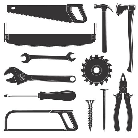 logging: Set of tools for wood, metal and other construction work isolated on white background. Vintage illustration Illustration