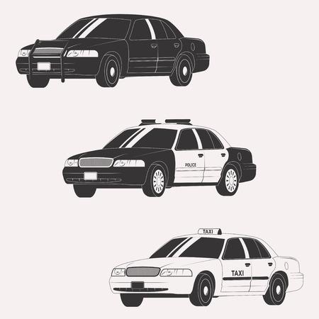 公用車のさまざまな種類のセットです。白い背景に分離されたベクトル車コレクション  イラスト・ベクター素材