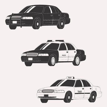 Set of different types of official vehicles. Vector car collection isolated on white background Illustration