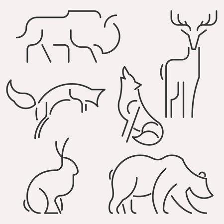 Vector line animal forest logo set. Linear figure of bison, deer, hare, fox, wolf, bear