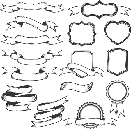 Set of monochrome ribbons and labels isolated on white background. Vintage illustration. Ilustração