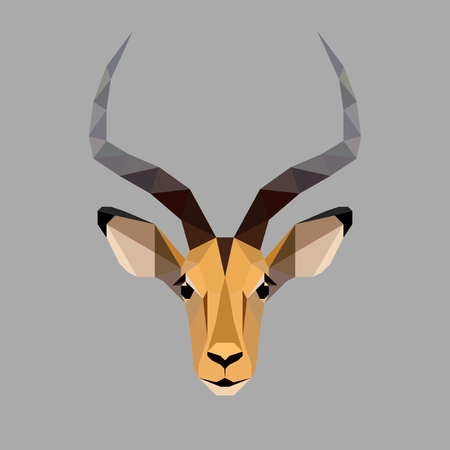 Geometric colored antelope head isolated on white background vintage design element illustration