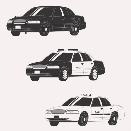 Set of different types of official vehicles. Vector car collection isolated on white background Standard-Bild
