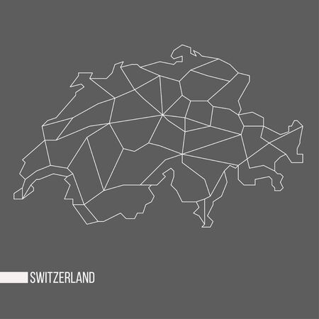 bounded: Abstract polygonal geometric Switzerland minimalistic vector map isolated on grey background Stock Photo