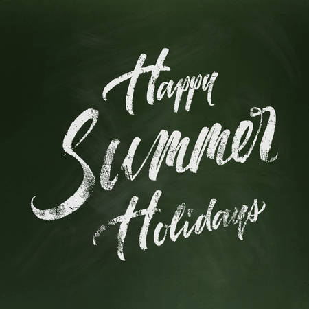 Happy summer holidays nad drawn brush lettering calligraphic chalk composition isolated on green chalkboard with stains