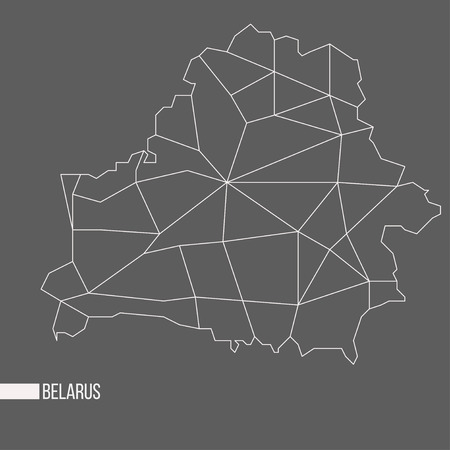 Abstract polygonal geometric Belarus minimalistic vector map isolated on grey background