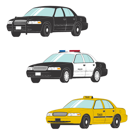 Colored set of different types of official vehicles. Vector car collection isolated on white background Standard-Bild