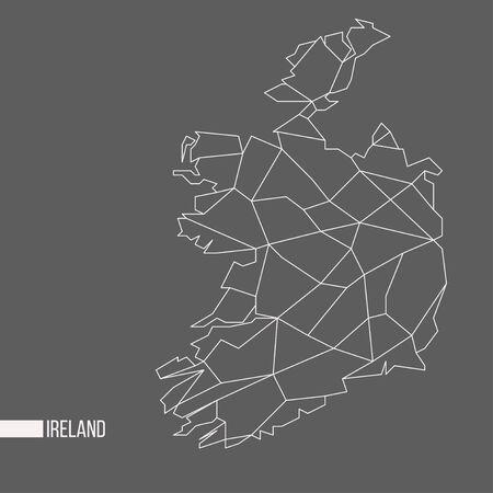Abstract polygonal geometric Ireland minimalistic vector map isolated on grey background Banco de Imagens