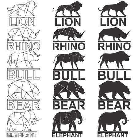 Animal logo set. Lion rhino rhinoceros bull bear elephant geometric lines silhouette isolated on white background vintage vector design element illustration set