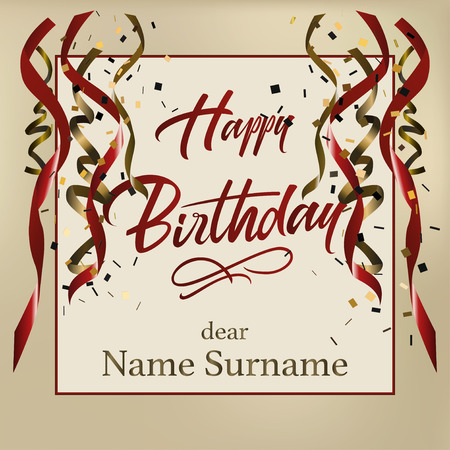 Happy birthday hand lettering. Retro vintage custom typographic composition. Original hand crafted design. Calligraphic phrase. Original drawn Illustration greeting card with ribbons with confetti