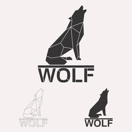 Howling wolf geometric lines silhouette isolated on white background vintage vector design element illustration set Banco de Imagens