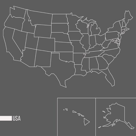 Abstract polygonal geometric United States of America, Alaksa, Hawaii minimalistic vector map isolated on grey background Banco de Imagens