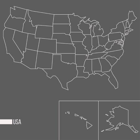 Abstract polygonal geometric United States of America, Alaksa, Hawaii minimalistic vector map isolated on grey background Standard-Bild