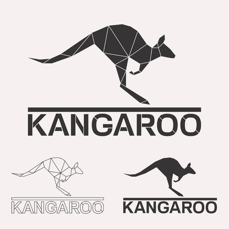 Kangaroo geometric lines silhouette isolated on white background vintage design element set