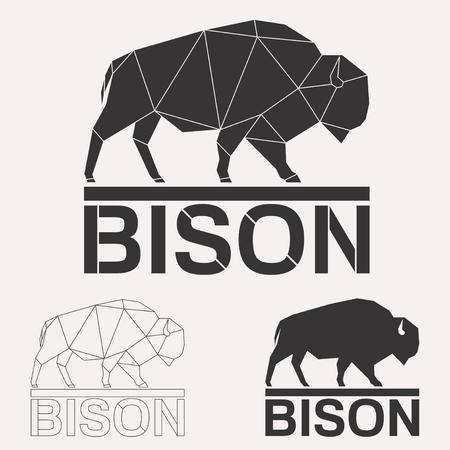 バイソン牛牛幾何学線シルエット白地ビンテージ デザイン要素セットに分離 写真素材