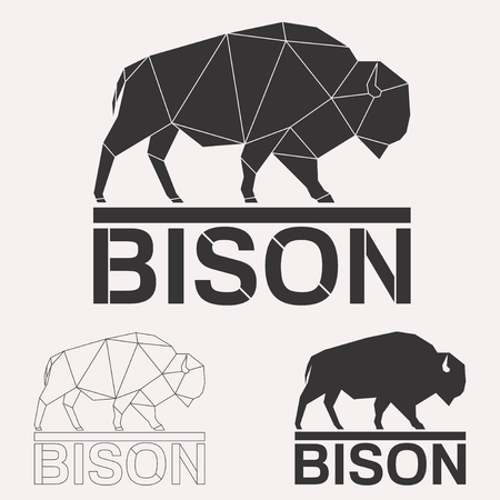 Bison bull cow geometric lines silhouette isolated on white background vintage design element set Stock Photo