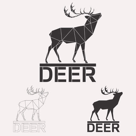 Horned deer geometric lines silhouette isolated on white background vintage design element set