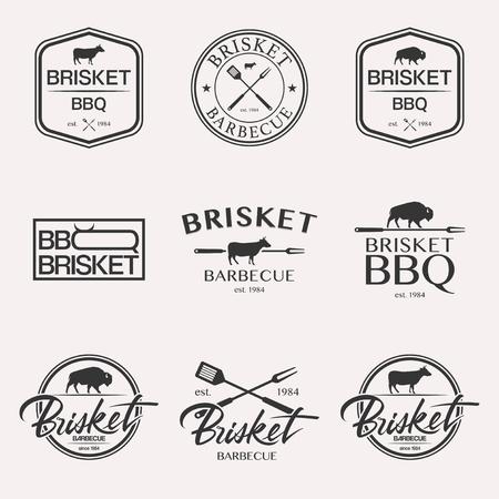 Barbecue brisket lettering logo set BBQ isolated on white background Standard-Bild
