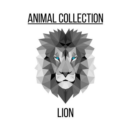Geometric vector animal blue eyes lion head background Illustration