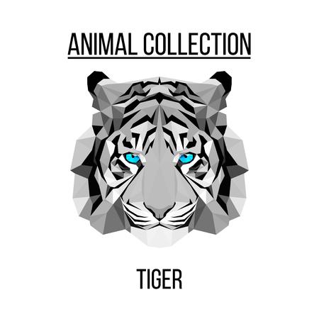 Geometric vector animal blue eyes tiger head background