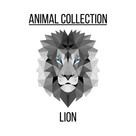 Geometric vector animal blue eyes lion head background Banco de Imagens