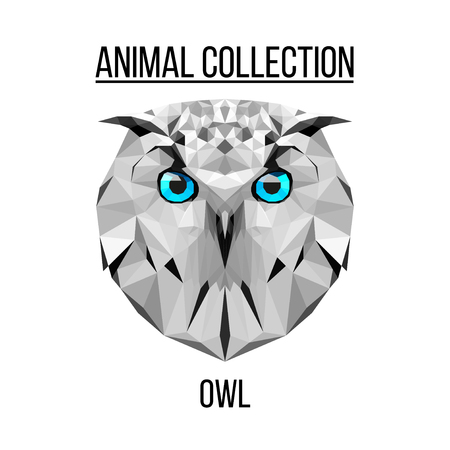 owl illustration: Owl blue eyes head geometric lines silhouette isolated on white background vintage vector design element illustration
