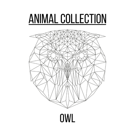 Owl head geometric lines silhouette isolated on white background vintage vector design element illustration Banco de Imagens