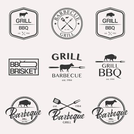 Barbecue brisket lettering logo set BBQ isolated on white background Illustration