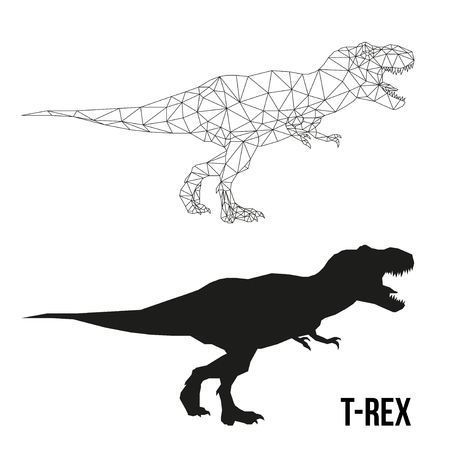 Abstract geometric triangle polygonal dino tyrannosaurus silhouette isolated on white background Ilustração