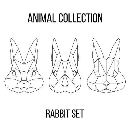 Set of geometric rabbit head isolated on white background vintage vector design element illustration Banco de Imagens