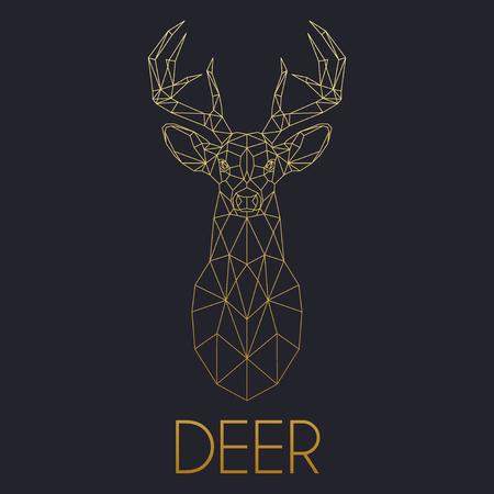 Deer golden head geometric lines silhouette isolated on black background vintage vector design element illustration