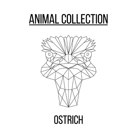 Ostrich head geometric lines silhouette isolated on white background vintage vector design element illustration Banco de Imagens