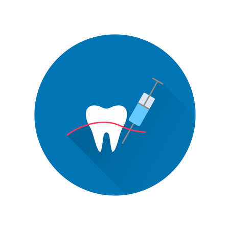 Dental anesthesia with long shadow. Sign for dentistry clinic. Orthodontics concept