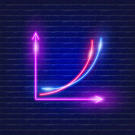 Graph neon icon. Vector illustration for design website, advertising, promotion, banner. Analysis and statistics concept