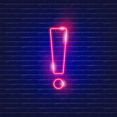 Exclamation point neon icon. Vector illustration for design website, advertising, promotion, banner. Alarm concept 矢量图片