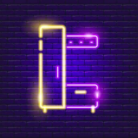 Wardrobe neon sign. Vector illustration for the design of advertising, catalog, banner, signboard. Furniture concept
